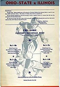 Ohio State Illinois Football Pre Game Menu Hotel Carter Cleveland Ohio 1942