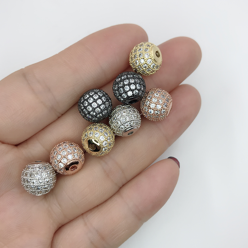 6mm 8mm 10mm 12mm pave clear zircon disco ball beads round beads,Micro Pave White CZ charm Fit Bracelet & Necklaces