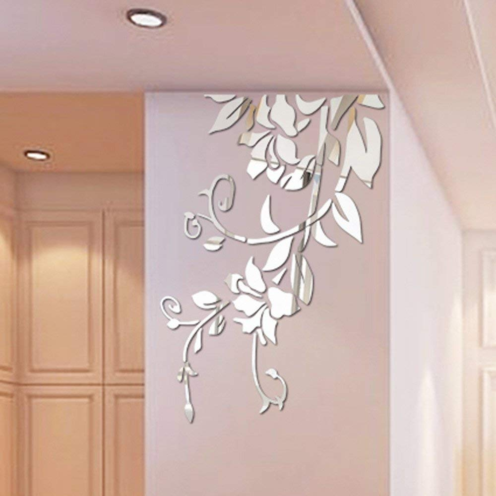 Rumas 3D Mirror Flower Wall Stickers for Living Room - DIY Home Decor for Bedroom Kitchen Kids Room - Removable Wall Murals Wall Decals - Silver Black Gold (Silver)