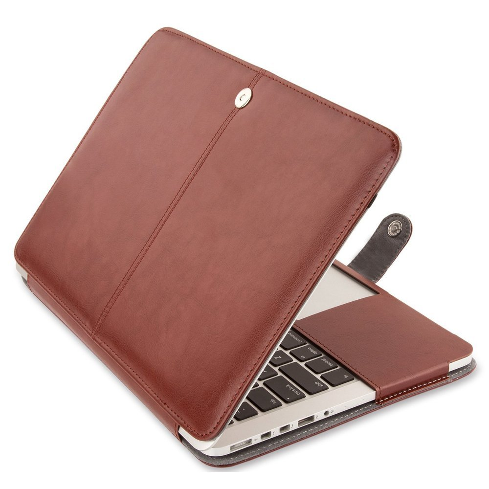 Famber PU Leather MacBook 13 Inch Case Folio Cover Clip for MacBook Pro 13.3 with Retina Display A1502 / A1425 (No CD-ROM Drive) - Brown