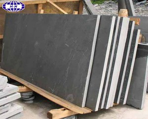 China honed black slate slab for sale