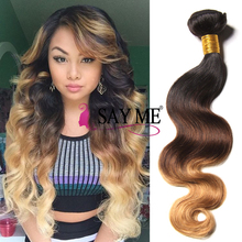 Free Sample Hair Bundles Ombre 1b 4 27 Brazilian Human Hair Sew In Weave Extensions Body Wave