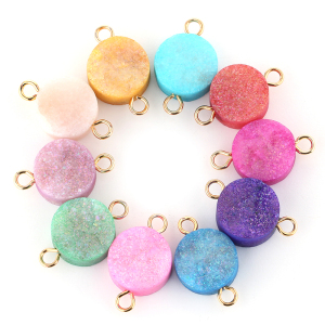 Round 15mm Druzy Pendant Gold color Double Bails Pendant Charms For Necklace &Bracelet Jewelry making connector