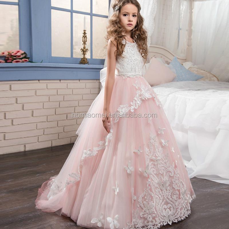 Blanca Rosa De Encaje De Cuentas De La Mariposa De La Piso Longitud Sin Mangas De Gasa Hinchada Pequeña Reina Vestido De Niña De Flores