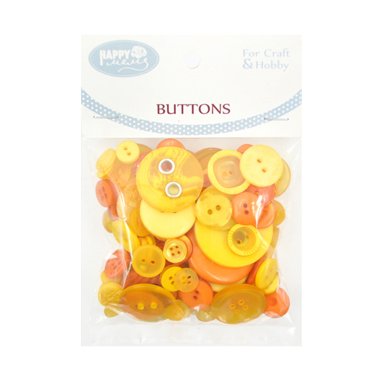 Small 15mm 24L Orange Bright Shank Plastic Dome Buttons Craft Button S19