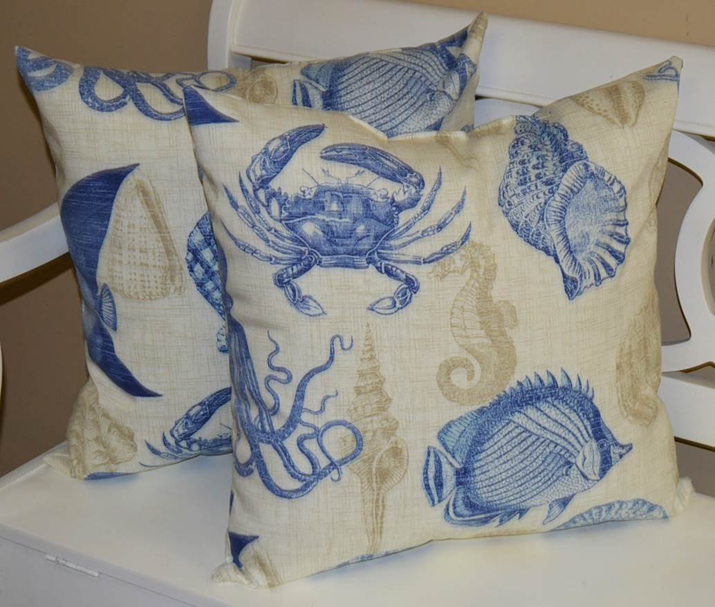 "Set of 2 - Indoor / Outdoor 20"" Square Decorative Throw / Toss Pillows - Elegant Ivory, Tan, & Blue Coastal / Nautical Beach Print ~ Fish, Crab, Shells, Octopus"