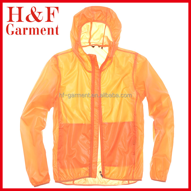 Light windbreaker jacket for men and women in orange