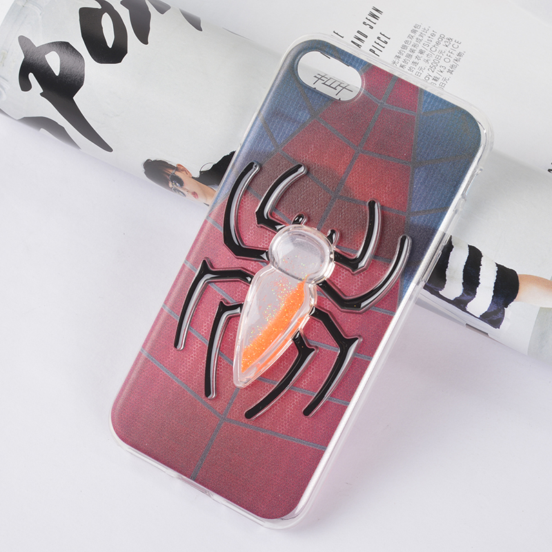 paint Spiderman color quicksand phone case for iPhone7 for Samsung etc.