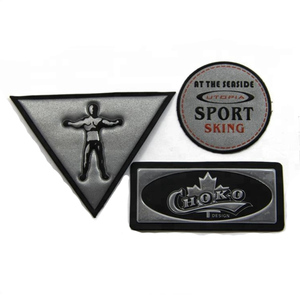Custom pvc logo embossed light reflective garment patch for outdoor clothing