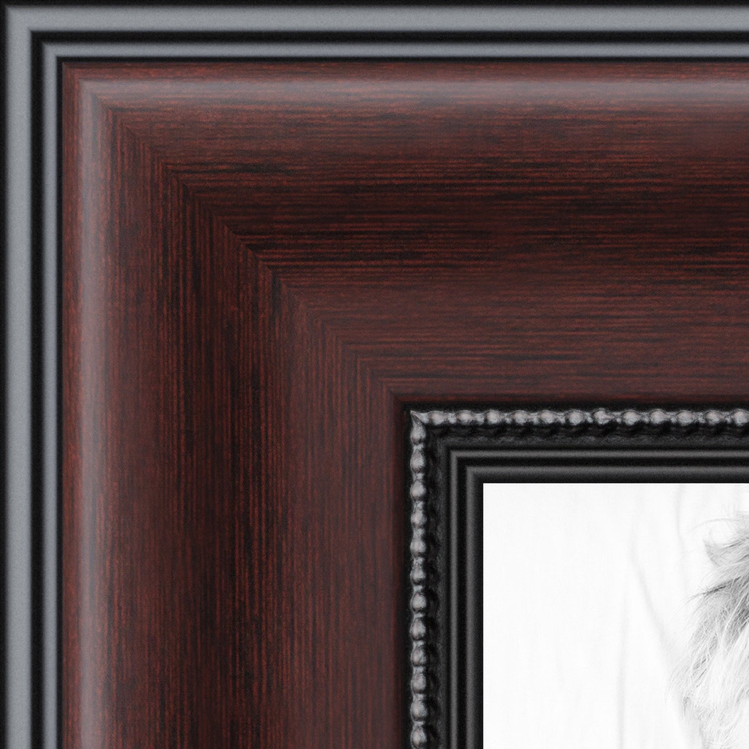 Buy Arttoframes 23x35 Inch Mahogany And Burgundy With Beaded Lip