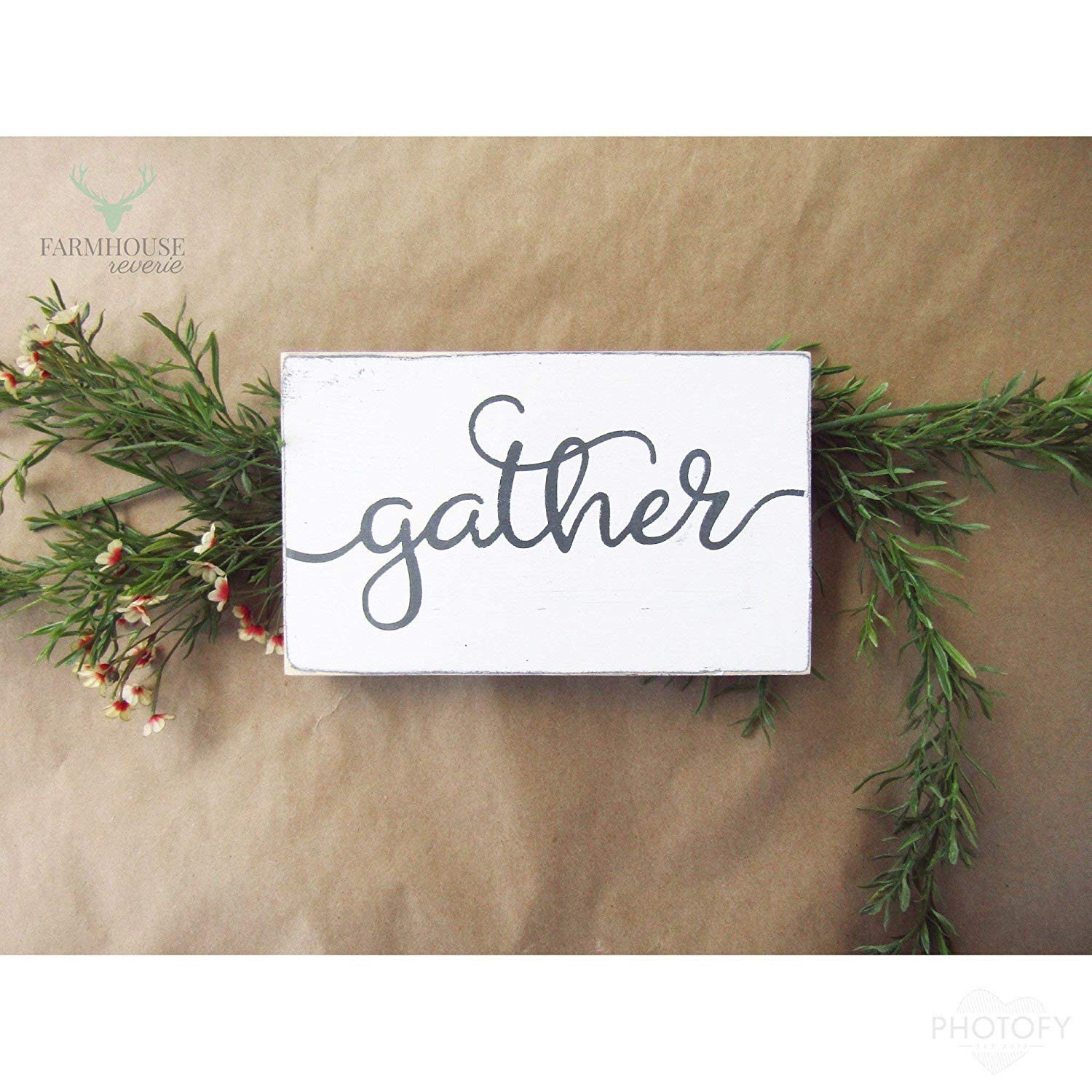 Rustic Gather Sign (Small Rustic Wood Sign, Farmhouse Sign, Shabby Chic Sign, French Country Signs, Farmhouse Home Decor, Rustic Home Decor, Primitive Signs, Primitive Decor, Shabby Chic Decor)