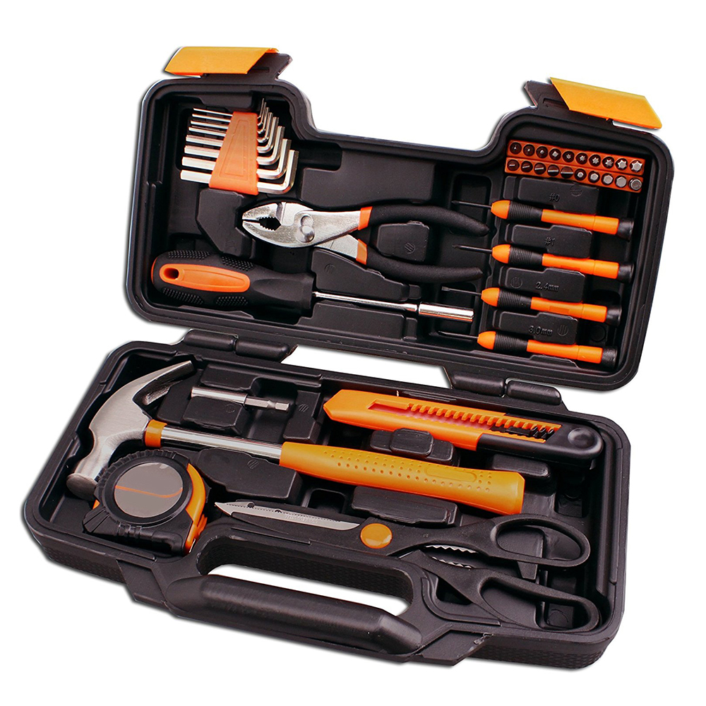 Hot Selling 39 Piece Tool Set General Household Hand Tool Kit with Plastic Toolbox Storage Case Tool Kit Set