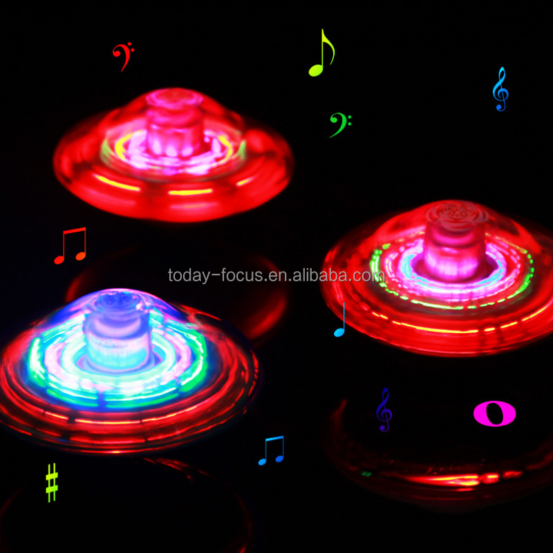 Plastic LED Peg Tops / Flashing Spinning Ball With Music