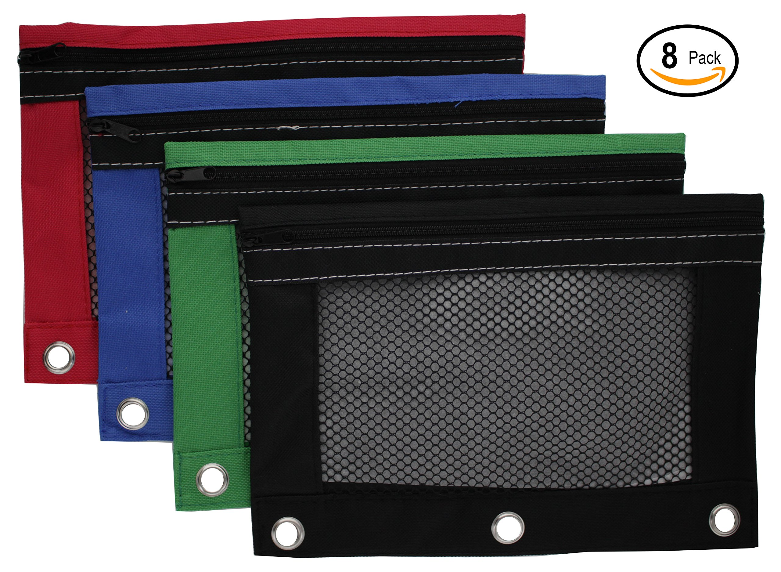 Emraw Zippered Pencil Pouches with 3-Ring Grommet Holes & Quick View Mesh Pocket - Colors Included: Black, Green, Red, Blue (8 Pack)