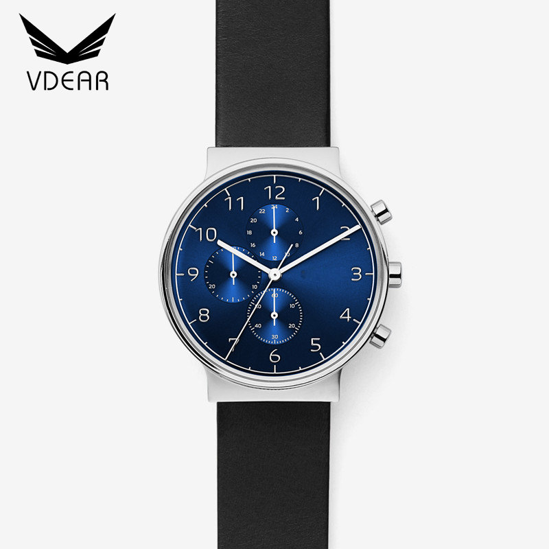 Wholesale genuine leather strap watch logo chronograph custom men stainless steel watches