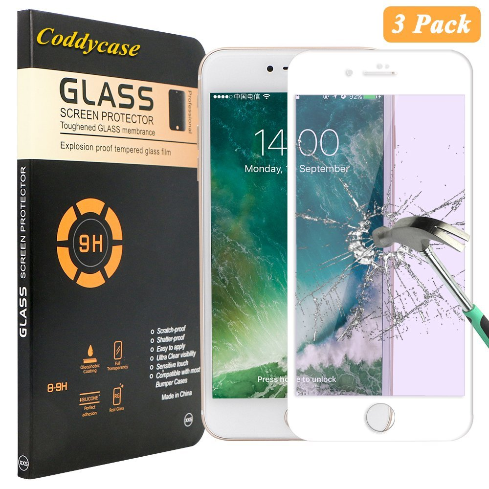 iPhone 7 Plus Glass Screen Protector,iPhone 7 Plus Screen Protector,Coddycase [3 Pack] [HD Clear] Tempered Glass Carbon Fiber Screen Protector for iPhone 7 Plus 5.5 inch-White