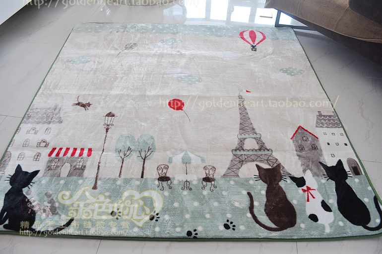 Cartoon Drawing Rug For Child Eiffel Tower Mat 0551 Flannel Carpet Size