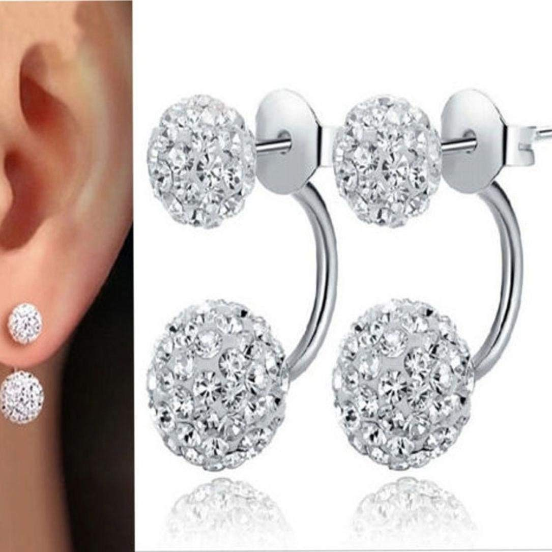 Paymenow Hot Sale 2018 Women Girls Fashion Snowflake Rhinestone Stud Earrings Unique Crystal Clip Earrings Jewelry Party Prom with Dress