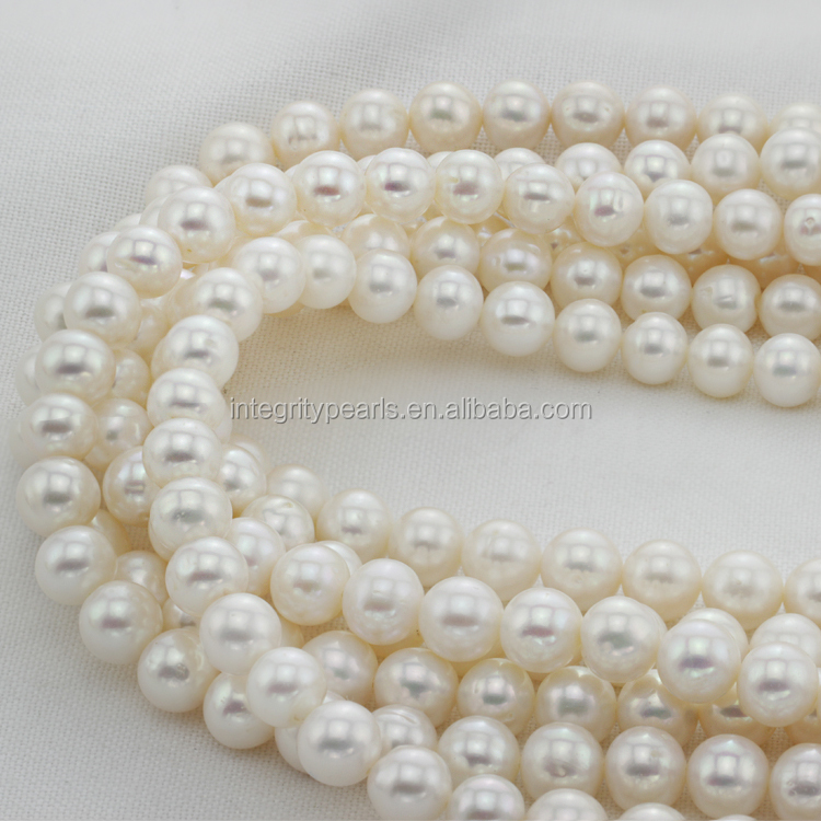 8-9mm Round Real Natural Freshwater Cultured White Freshwater Pearl Beads
