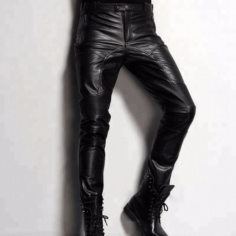 Pencil Fitted Polyester Men Skinny PU Leather Trousers