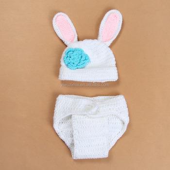 Niedlichen Weißen Kaninchen Ohr Häkeln Muster Mütze Set Säugling ...