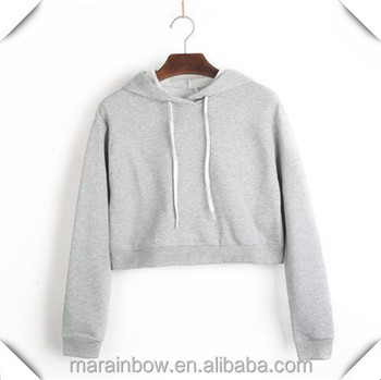 Fashion Custom Grey Plain Womens Crop Top Hoodie Wholesale