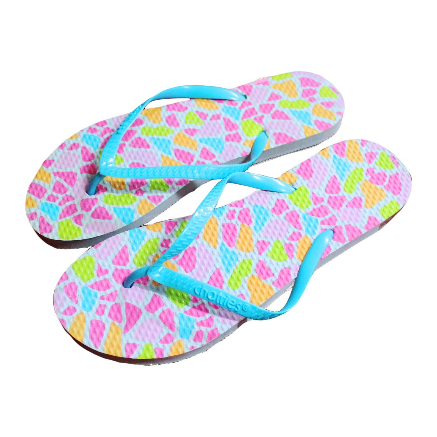 56295d6c18ce8e Get Quotations · Chatties Women s Casual Blue Rubber Flip Flops Slippers