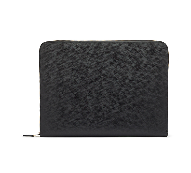 "14 "" customized real leather laptop bag case with a portfolio document holder cross grain calf leather laptop sleeve for men"