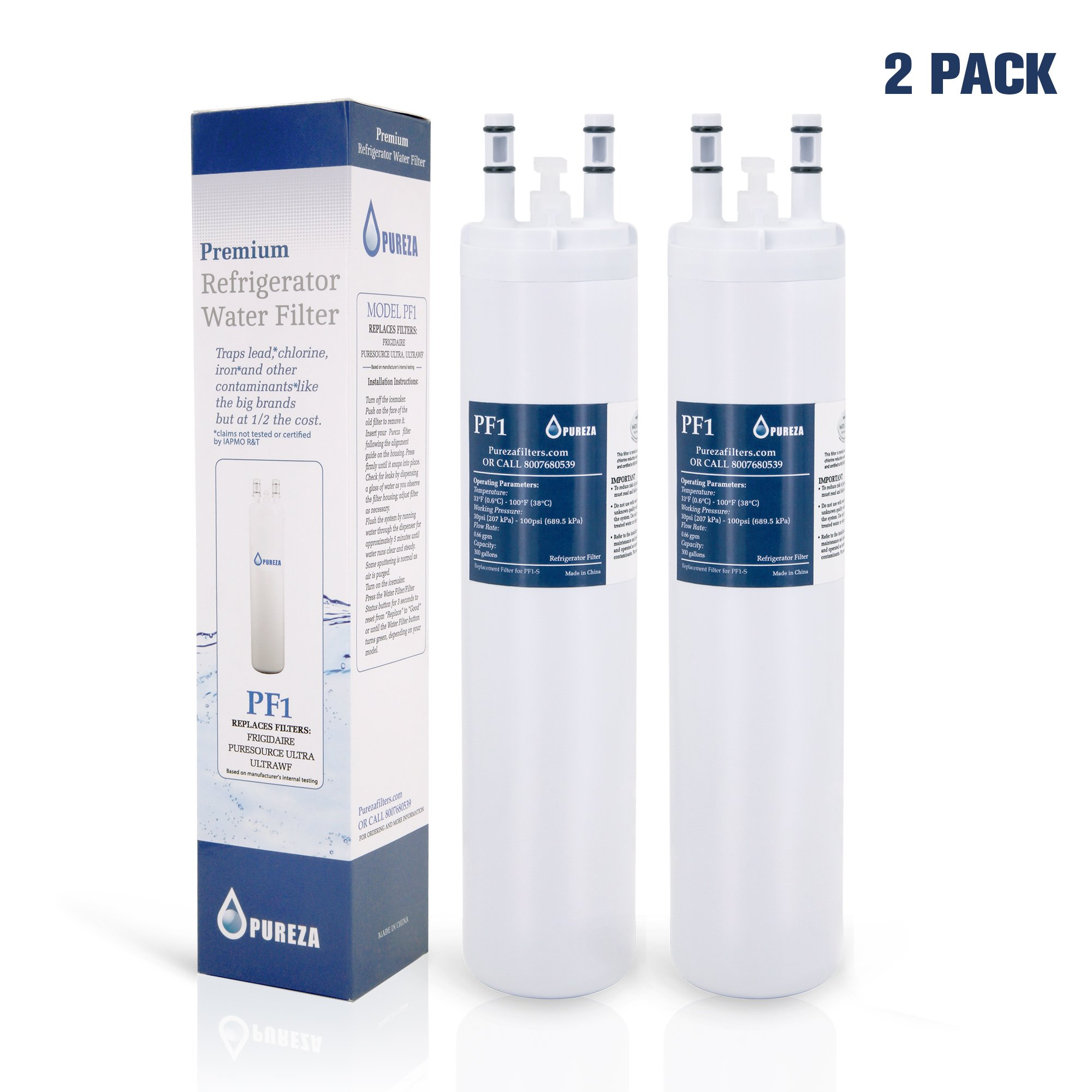 Pureza ULTRAWF Frigidaire Water Filter, PureSource Ultra, Frigidaire Compatible Cartridge For Frigidaire Refrigerators & Ice Makers-Compatible with Crystal ULTRAWF, Kenmore 46-9999, 2 Packs