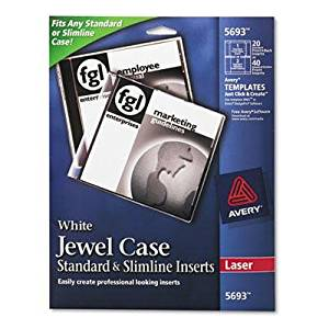 "Avery - 2 Pack - Laser Cd/Dvd Jewel Case Inserts Matte White 20/Pack ""Product Category: Labels Indexes & Stamps/Labels & Stickers"""