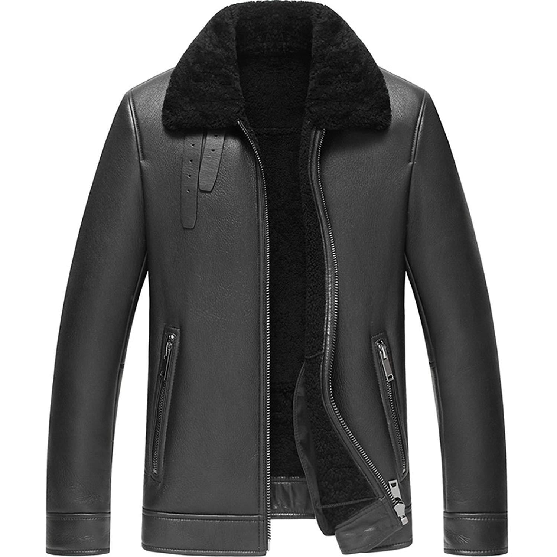 c99b62bae4e Get Quotations · Denny Dora Men s Shearling Coat Black Color Flight Jacket  B3 B2 Sheepskin Coat Leather Jacket for Men