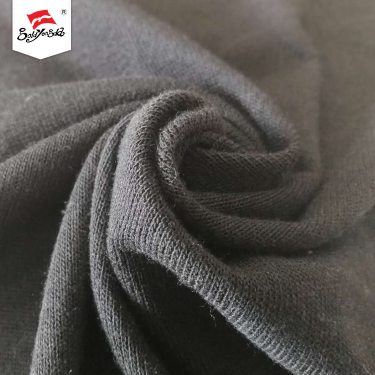 Dark black Polyester Rayon Spandex knitting Hacci winter clothes fabric