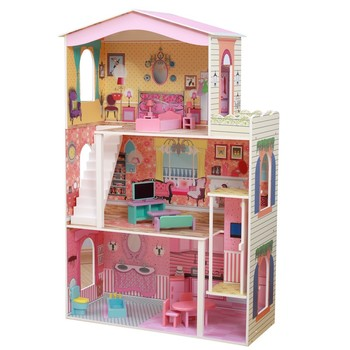 Delicate Three Floors Barbie Dollhouse With 17sets Mini
