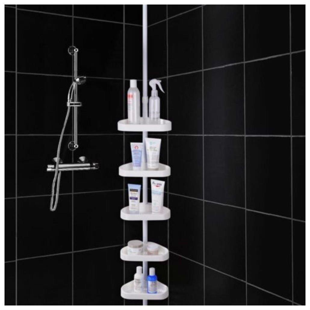 5 Layers Shower Corner Pole Caddy Shelf Holder Bathroom Storage Rack Organizer