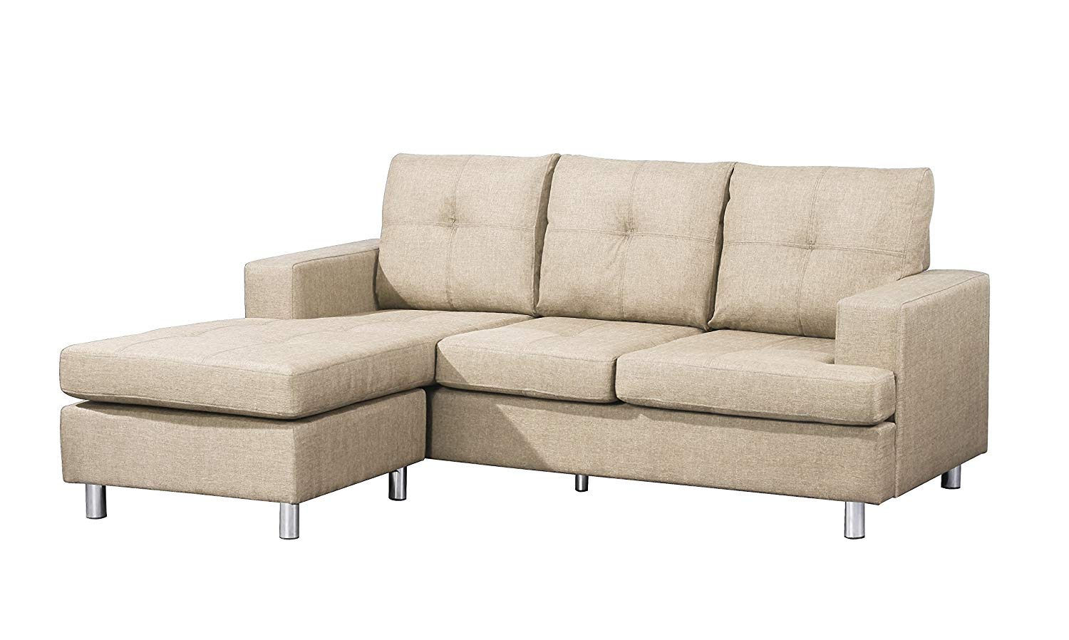 """Container Furniture Direct S0104 Fancy Linen Upholstered Contemporary Reversible Sectional Sofa, 76.5"""", Beige"""