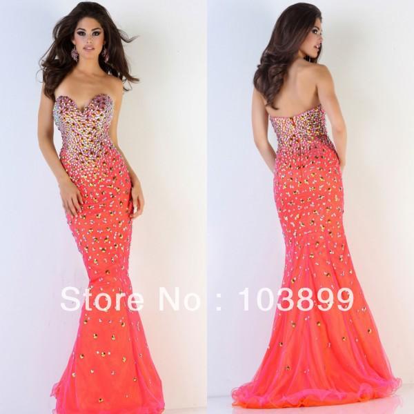 Bright Orange Mermaid Prom Dresses Bodice Bright Orange Floor