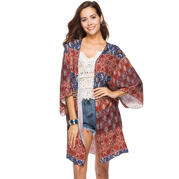 2018 Retail and Wholesale Hot Selling Printed Beach Blouse Woman Dress