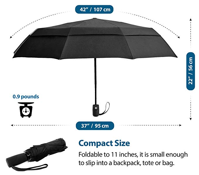 Compact Travel Umbrella w/Windproof Double Canopy Construction - Auto Open/Close Button