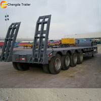 Four Axle 80ton Low Flatbed Semi Truck Lowbed Hydraulic Trailer