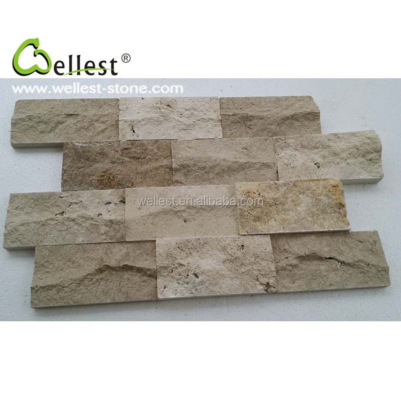 Hot Selling China Natural Beige Color Travertine Mushroom Stone for Wall Cladding