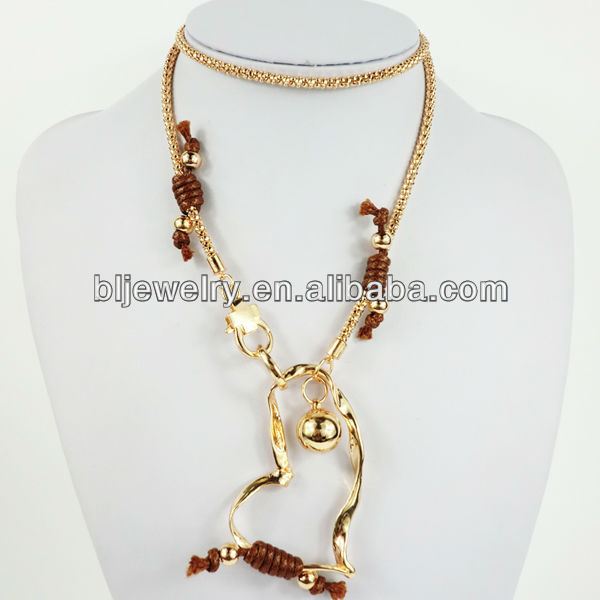 Rose gold long popcorn chain with heart pendant necklace, wax cords knots necklace