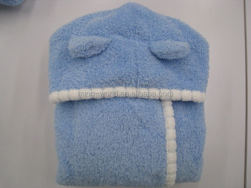 Quick-drying Fluffy Hooded Toddler Towel Bathrobe for girls