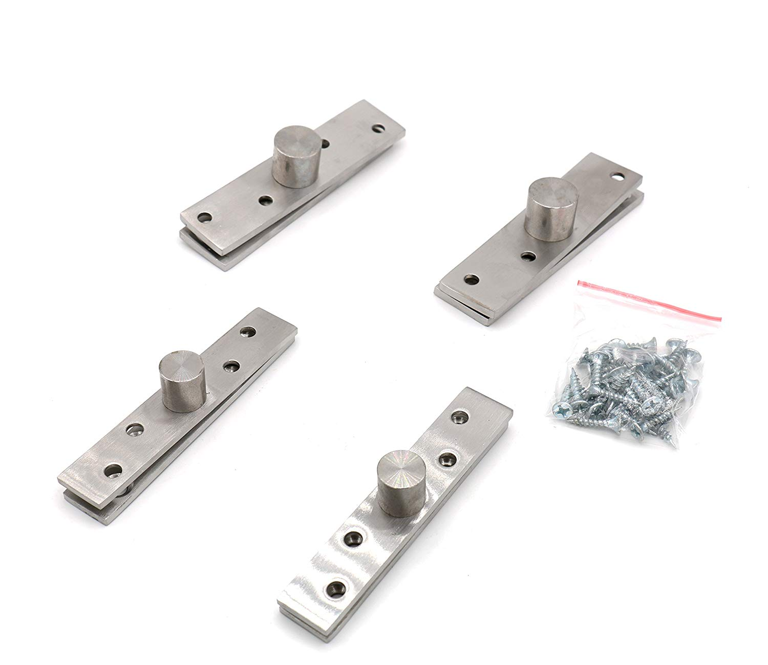 """Castuvy 360 Degree Stainless Steel Door Fittings, Floor Pivot Door Pivot Hinge, Stainless Steel Brushed Surface Hardware,4 PCS,3.9""""100mm/2.9""""(L) x 24mm/0.95""""(W),95mm/3.7""""(L) x 19mm,2 Size kit。"""