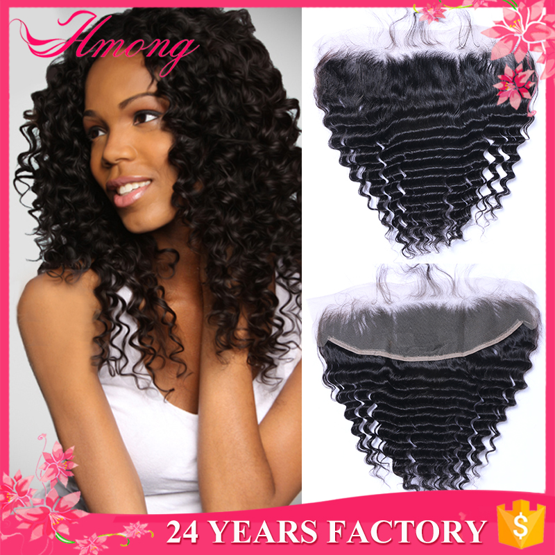 Virgin Peruvian Lace Frontal Closure 13X4 Deep Wave Lace Frontal From Ear To Ear Bleached Knots Full
