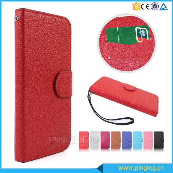Wholesale litchi stria leather flip case for ZTE Blade V580 , protective case for ZTE Blade V580
