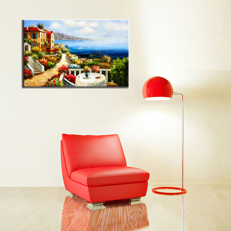 single 100% Hand Painting Charming Modern Canvas Art Wall Painting Picture For <font><b>Home</b></font> <font><b>Decor</b></font>( Mediterranean <font><b>Italian</b></font> Villas)