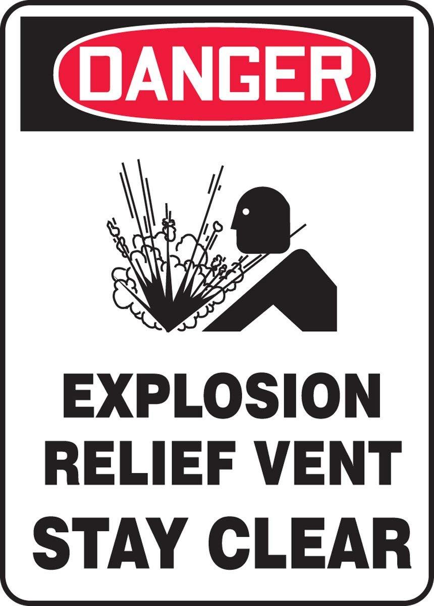 "Accuform MCHL247VS Adhesive Vinyl Sign, Legend""DANGER Explosion Relief Vent Stay clear"", 10"" Length x 7"" width x 0.004"" Thickness, Red/black On White, 10"" Height, 7"" Wide, 10"" Length, Vinyl, 10"" x 7"""
