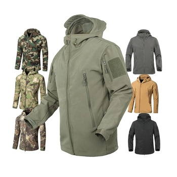 Men's Army Fans Military Tactical Jacket Camouflage Waterproof Softshell Hoody Hiking Camping Jacket Coat Army Cargoes Jacket