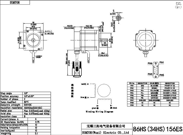 80mm 118mm 156mm motor body length nema 34 8 5 12n driver closed loop servo motor and encoder