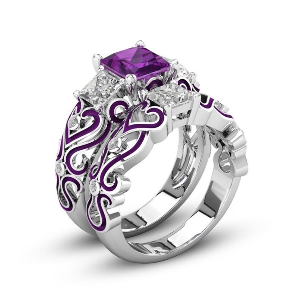ALARRI 0.98 CTW 14K Solid White Gold Ring Natural Purple Amethyst Diamond